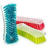 com-four® 3X Bürste für den Haushalt - Scheuerbürste zur Reinigung - Wurzelbürste hart - Schrubberbürste - Putzbürste